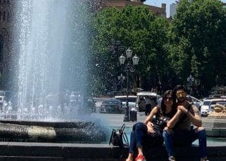 Sushmita Sen and Rohman Shawl capture a picture perfect moment near a fountain in Armenia