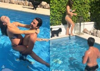 Pregnant Amy Jackson beats the London heat by frolicking in the pool with George Panayiotou