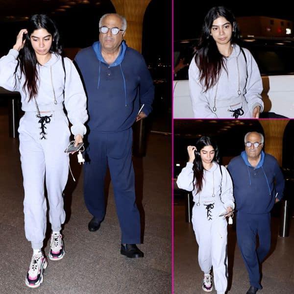 मुंबई एयरपोर्ट पर स्पॉट हुए khushi kapoor और boney kapoor
