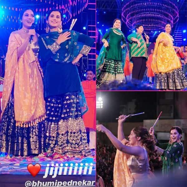 नवरात्री का मजा लेने पहुंची Taapsee Pannu और Bhumi Pednekar