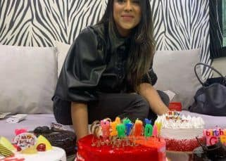 Nia Sharma's birthday cake war continues with 19 cakes! - watch video