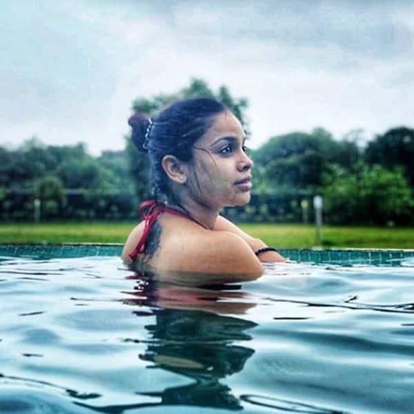 Sumona Chakravarti likes to relax in the swimming pool
