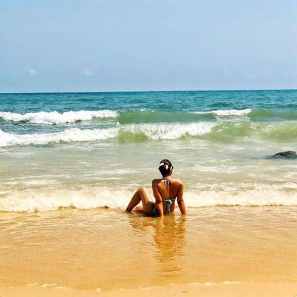 Sumona Chakravarti posed in a bikini by the sea