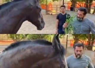 Salman Khan feeds a horse at his farmhouse and eats some 'ghode ka chaara' himself! — watch video