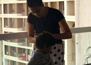 Shweta Tiwari is a 'multi-tasking mom' turns barber for son Reyansh
