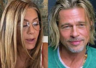 Jennifer Aniston tells Brad Pitt, 'I think you're so sexy,' and he can't sop blushing — watch video