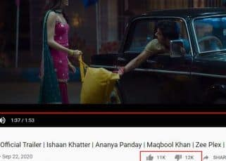 Khaali Peeli trailer bathed with dislikes from the audience; Ananya Panday-Ishaan Khatter starrer in jeopardy?