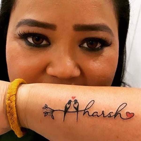 भारती सिंह ने हाथ पर लिखवाया है पति का नाम