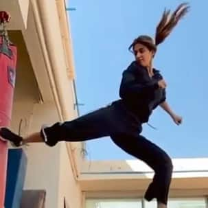 Disha Patani aces the flying kicks game - is this The Tiger Shroff Effect? – watch video