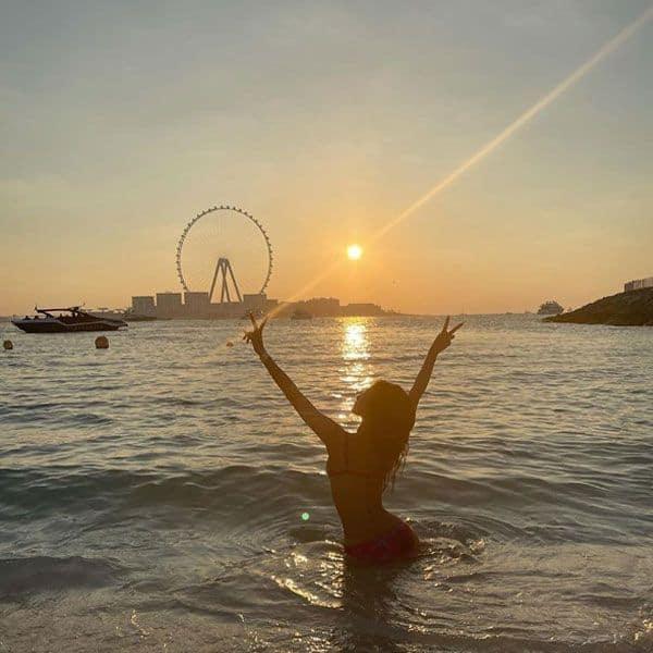 Mouni Roy and the sunset