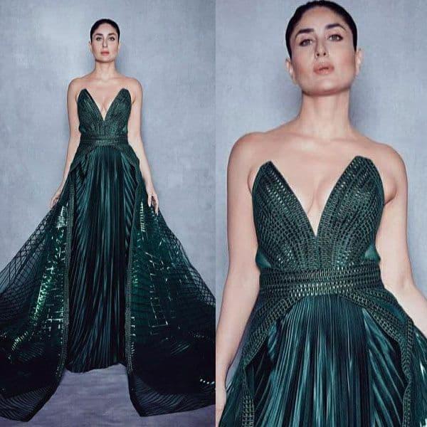Metallic, strapless gown