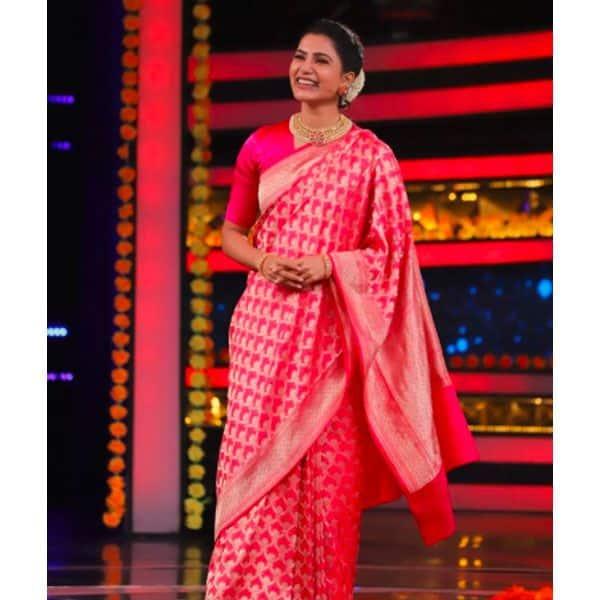 पिंक रंग की साड़ी में बला की खूबसूरत लगती हैं सामंथा अक्किनेनी (Samantha Akkineni)