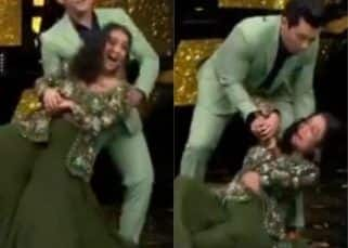 Indian Idol: When Neha Kakkar had an 'OOPS' moment as she fell on stage while dancing with host Aditya Narayan - watch viral video