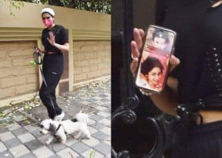 Khushi Kapoor takes her dog out for a walk, but her mobile cover with Sridevi's pic grabs our attention – view pics