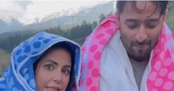 Hina Khan and Shaheer Sheikh shiver in the cold Kashmir valley as they shoot Baarish Ban Jaana in sub-zero temperatures