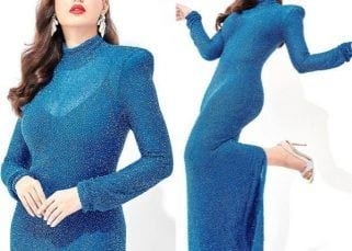 Nora Fatehi ups the oomph factor with her blue bodycon dress; looks drop-dead gorgeous  – view pics