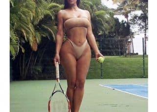 Kim Kardashian stuns as she plays tennis in a bikini – view pics