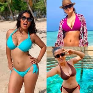 Salma Hayek has a bikini in every colour and we got proof