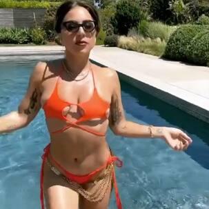 Lady Gaga struts her stuff in a barely there star-shaped bikini – see pics