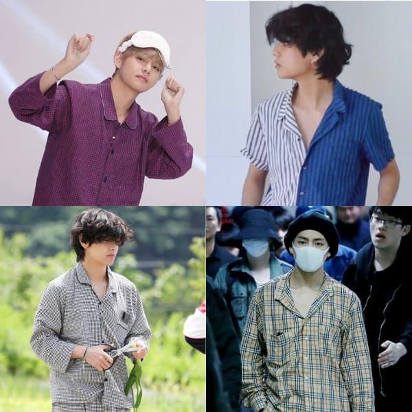 BTS' V aka Kim Taehyung in pyjamas