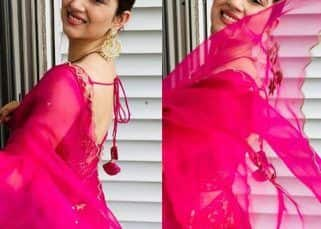 Newly married Disha Parmar looks radiant in pink as she flaunts her back and love for sarees – view pics