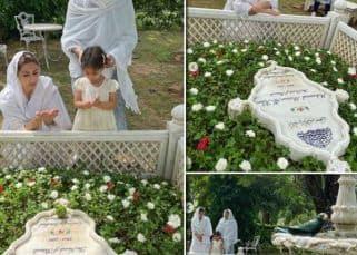 Soha Ali Khan ने बेटी इनाया और मां के साथ किया पिता Mansoor Ali Khan Pataudi को याद, सफेद चुन्नी ओढ़कर पढ़ी कब्र पर दुआ