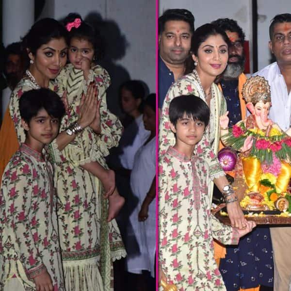 शिल्पा शेट्टी ने बच्चों संग किया गणपति बप्पा का विसर्जन