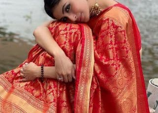 Bride-to-be Mouni Roy's stunning pics in a red Banarasi is making us impatient for her wedding day - view pics