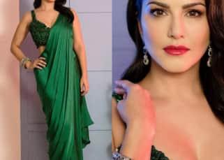 Sunny Leone's desi diva avatar in a green satin saree will take your breath away - view stunning pics