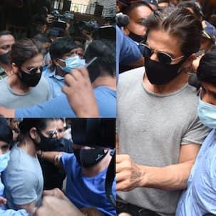 Media goes berserk as Shah Rukh Khan reaches jail to meet Aryan Khan: Mobbed, mics shoved onto his face - view pics