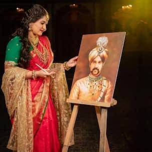 मृतक पति की पेंटिंग हाथों से बनाती दिखीं Meghana Raj Sarja, रानी की तरह सजकर किया बड़ा ऐलान !!