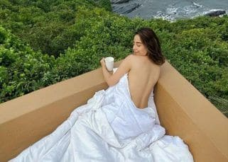 Srishty Rode turns up the heat as she wakes up topless while sipping a cup of coffee in Goa – view pics