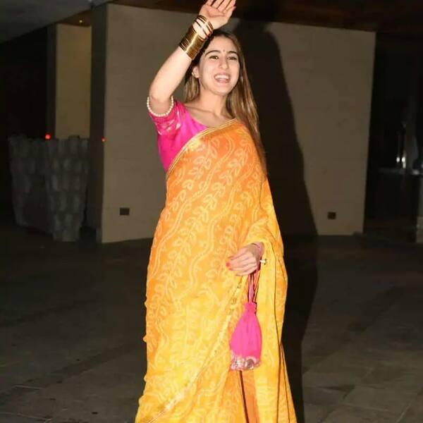 Sara Ali Khan's orange bandhani saree is a must have this festive season – view pics