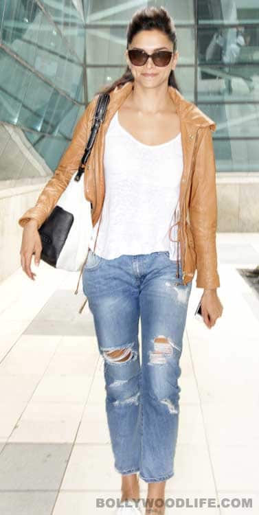 Deepika Padukone makes a style statement in ripped jeans ...