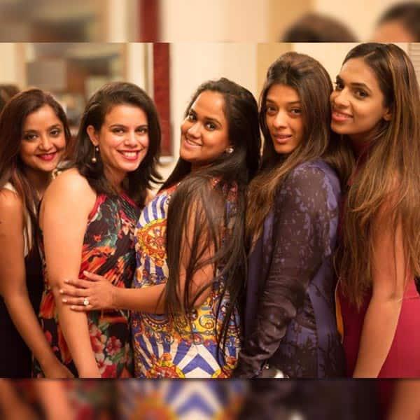 Arpita Khan poses with girlfriends in London