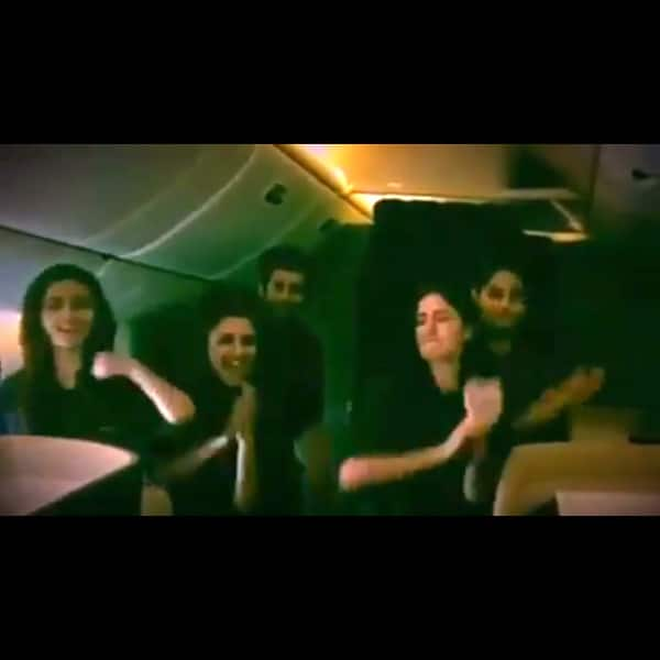 Katrina Kaif enjoying with her friends in the flight before Dream Team 2016 performnace