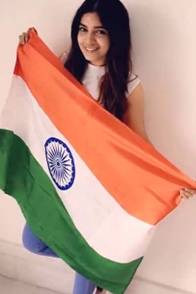 Bhumi Pednekar snapped with national flag on Independence Day