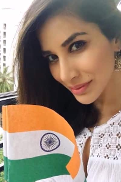 Sophie Choudry with national flag on Independence Day