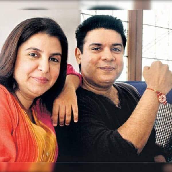 Farah Khan posing with brother Sajid Khan post rakhi celebrations