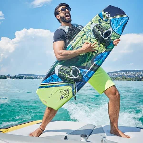 Ranveer Singh with his wakeboard before he hit the waters