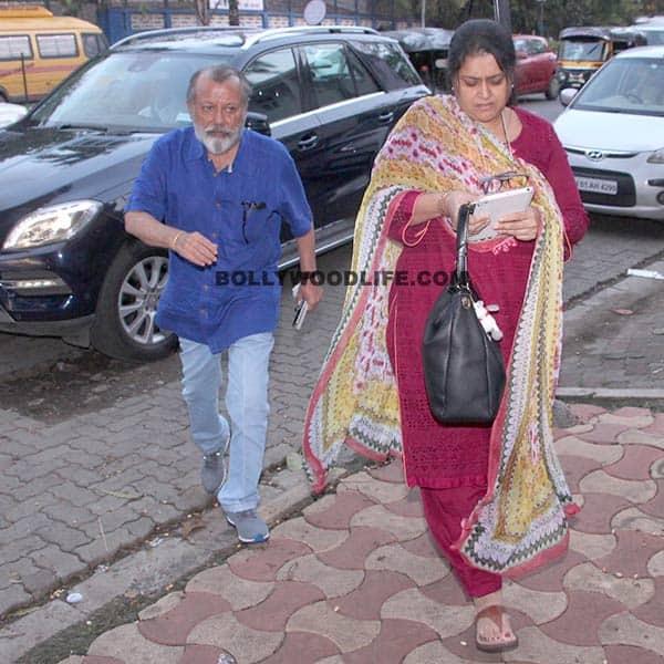 Pankaj Kapoor and Supriya Pathak outside Shahid's residence