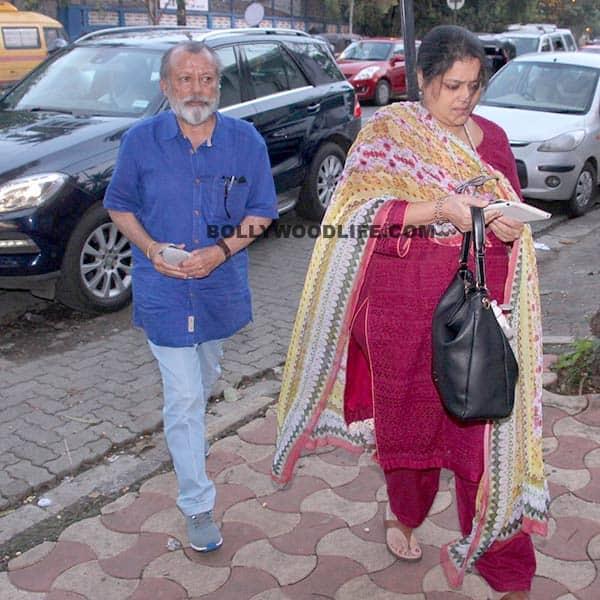 Pankaj Kapoor with wife Supriya Pathak outside Mira's house