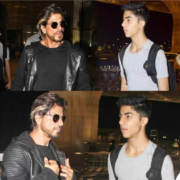 Aryan Khan with daddy Shah Rukh Khan  at Mumbai airport