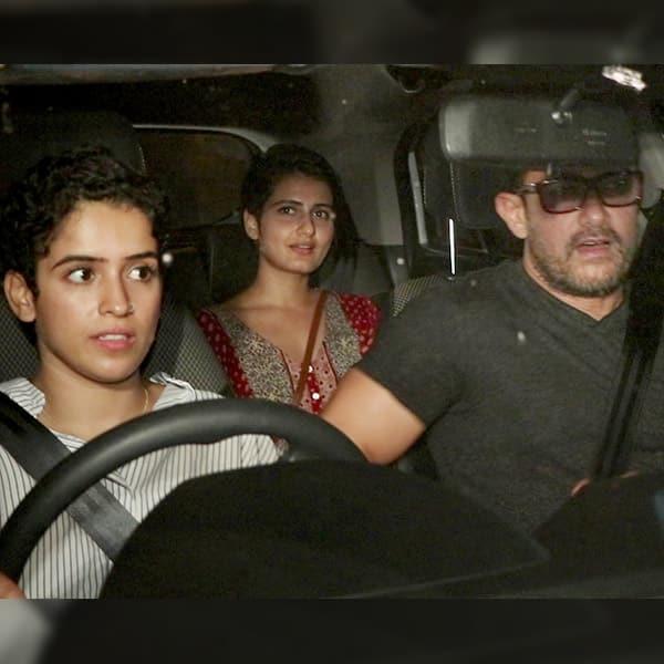 Aamir Khan in car with Sanya Malhotra and Fatima Sana Sheikh