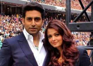 Abhishek Bachchan with wife Aishwarya Rai Bachchan at a football club