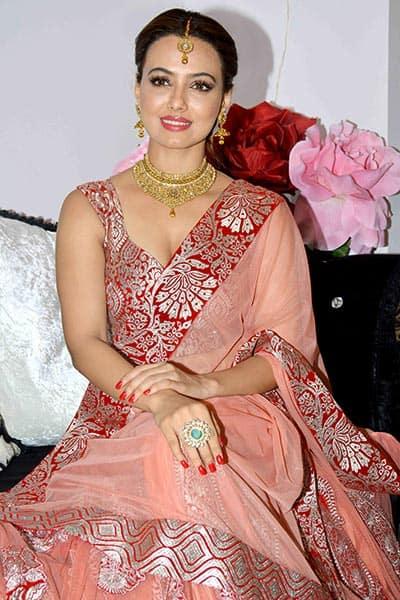 Actress Sana Khan celebrates Diwali with media