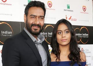 Ajay Devgn and daughter Nysa pose for cameras during London Film Festival 2016