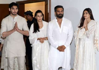 Akshay Kumar, Abhishek Bachchan, Bobby Deol : Celebs spotted  at Suniel Shetty's prayer meet for father Veerappa Shetty