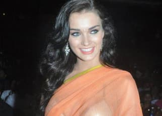 Amy Jackson, Lakhsmi Rai, Vikram and Karthi at the music launch of 'Thaandavam'