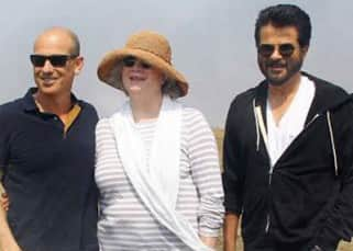 Anil Kapoor posing with production team of TV series 24 season 2